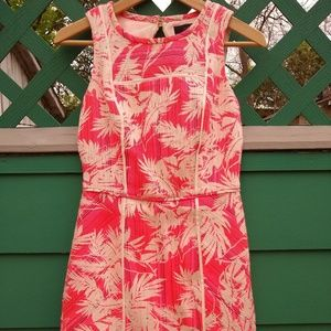 Tropical Sheath Dress - Neon Pink, Size 00